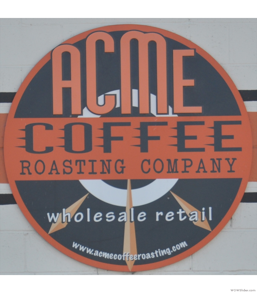 Acme Coffee Roasting Company, enough room for a counter and a table outside.