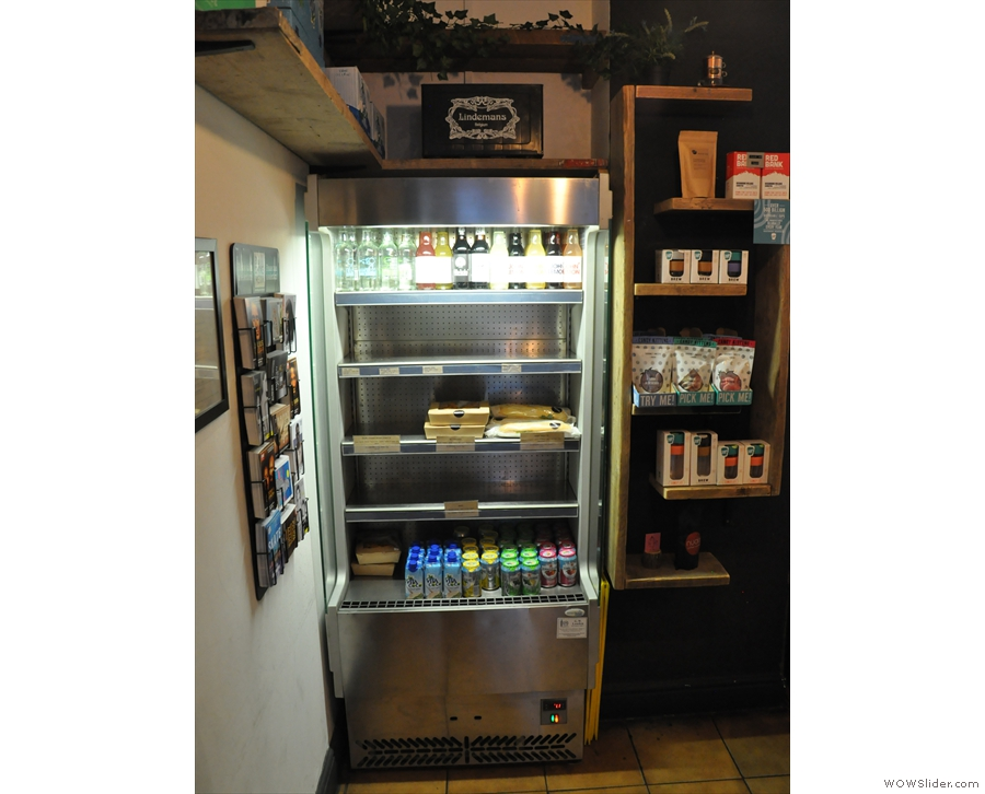 There's a chiller cabinet at the back, along with some retail shelves...