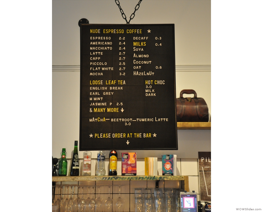 The coffee menu is on the left...