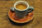 I had an espresso, which was served in the most delightful cup...