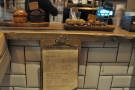 You'll also find a menu hanging beneath the counter...