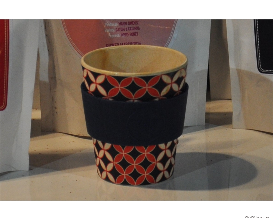 Personally, I'm not a great fan of plastic. This is the Ecoffee Cup, made from bamboo!