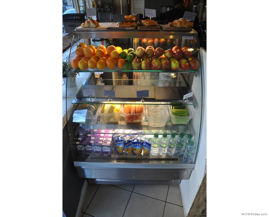 To the left, there's the display cabinet with the fruit/veg for the smoothies at the bottom...