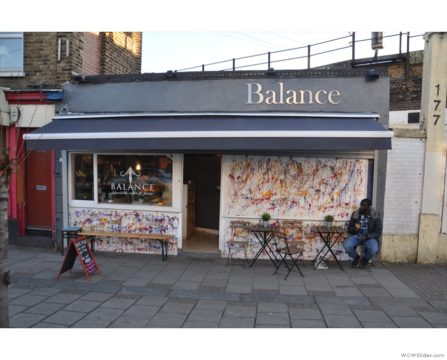 Balance on Ferndale Rd in Brixton, almost directly opposite the Assembly/Volcano roastery.