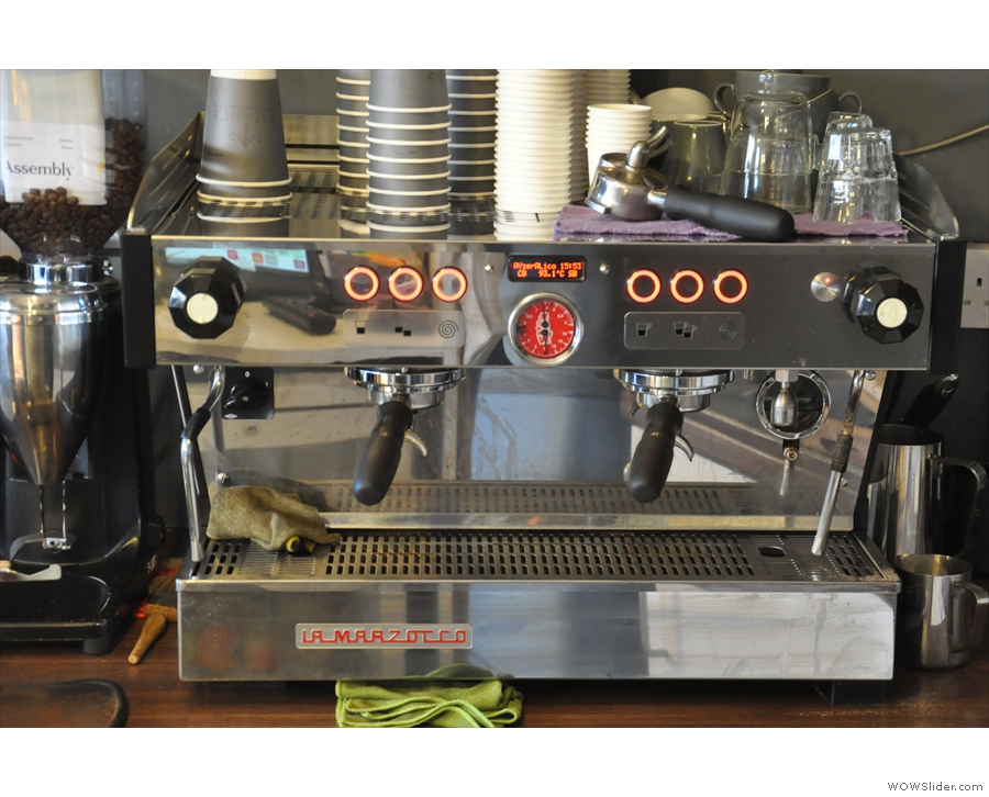 The guest espresso in the second grinder is from Assembly across the road.