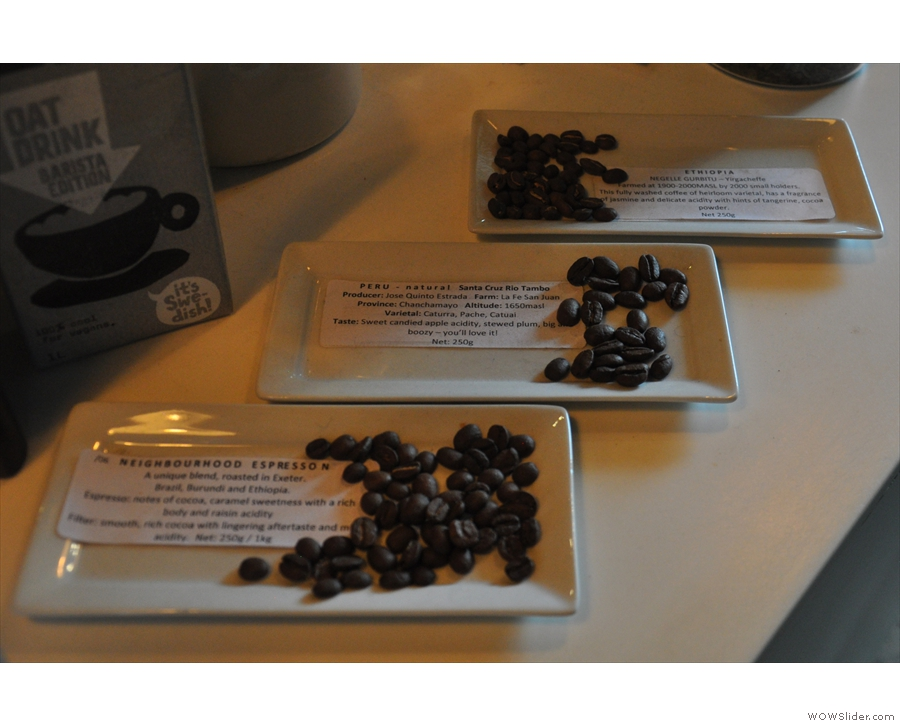 ... while beans from the espresso blend and the two single-origin filters are on display.