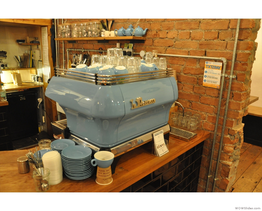 The gorgeous custom-painted La Marzocco espresso machine, seen here in January 2016...