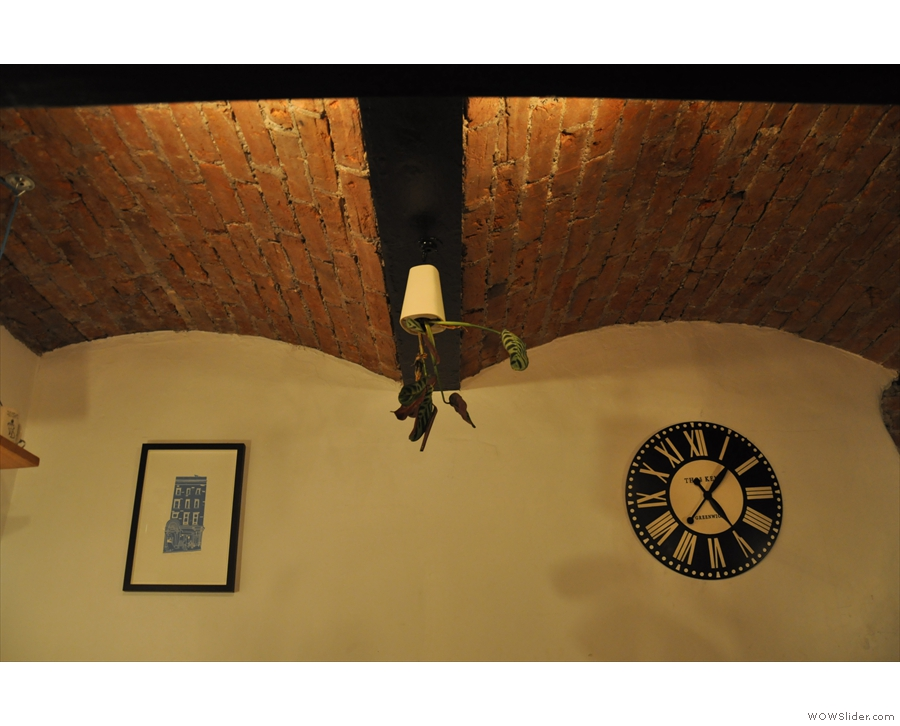 The alcove also has a beautiful, brick-vaulted ceiling.