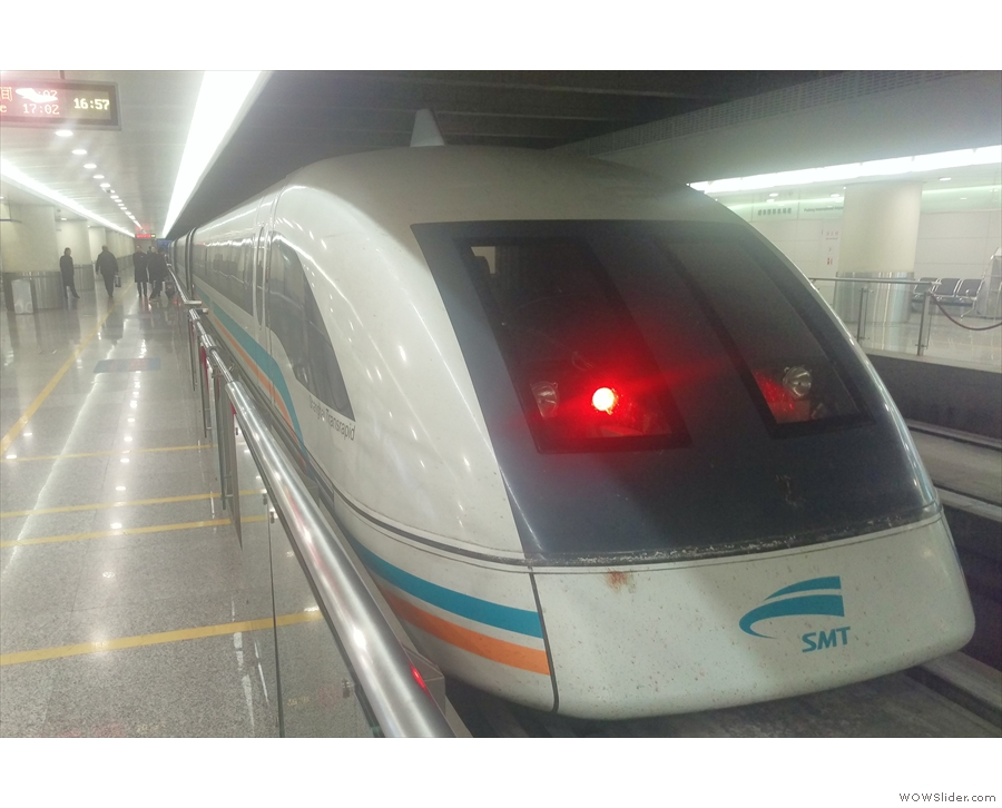 Shanghai's Maglev train, connecting Pudong Airport with (almost) the city centre.