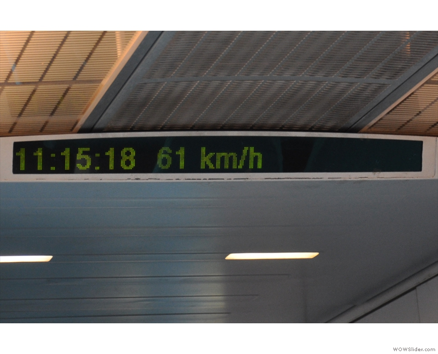 We departed at 10.15. 18 seconds in and we're already at 61 km/h.