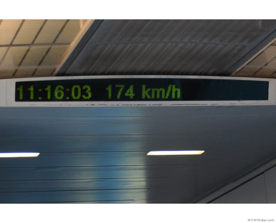 One minute on, and we've reached 174 km/h...