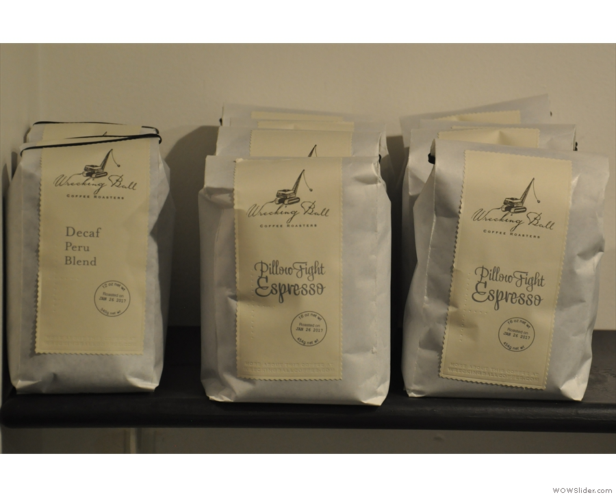 There's a range of coffee for sale, including decaf and espresso blends...