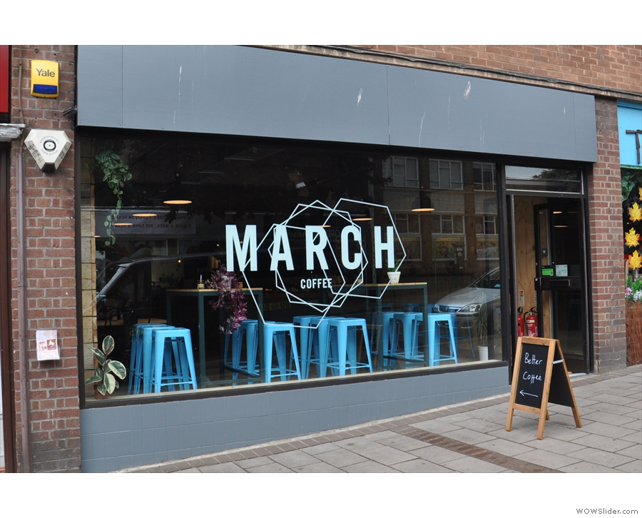 March Coffee on Exeter's South Street. I'm already loving the massive window.