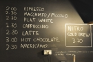 There's a very concise coffee menu...