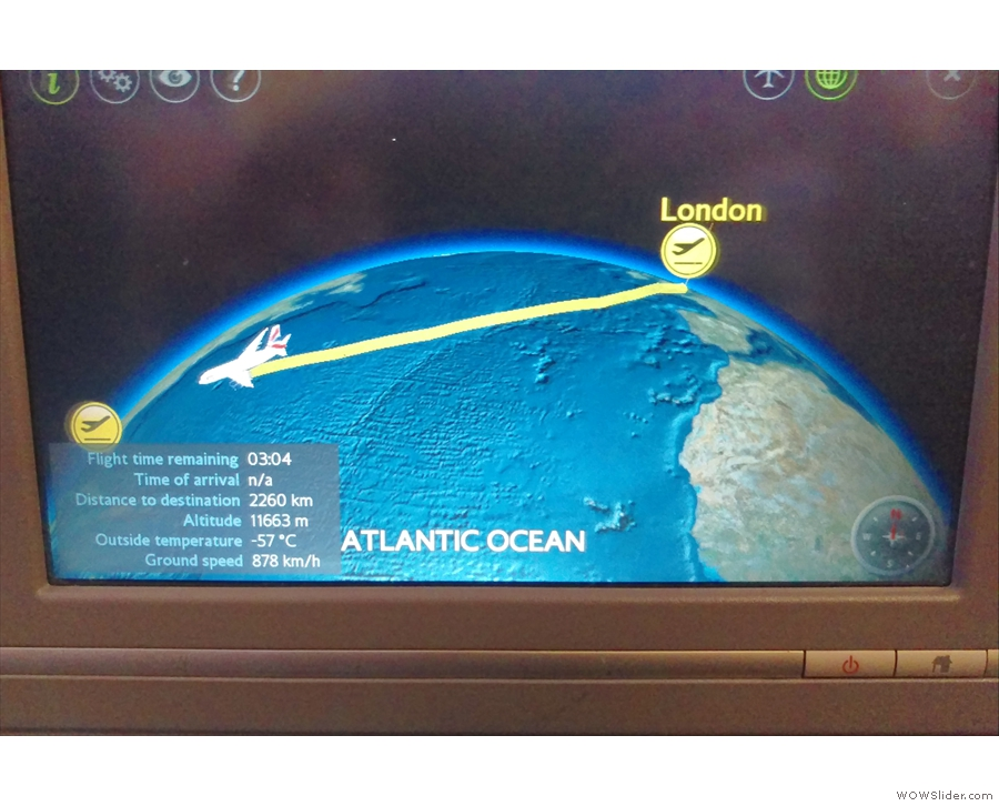 Just three hours left in the flight. And we're still over the Atlantic.