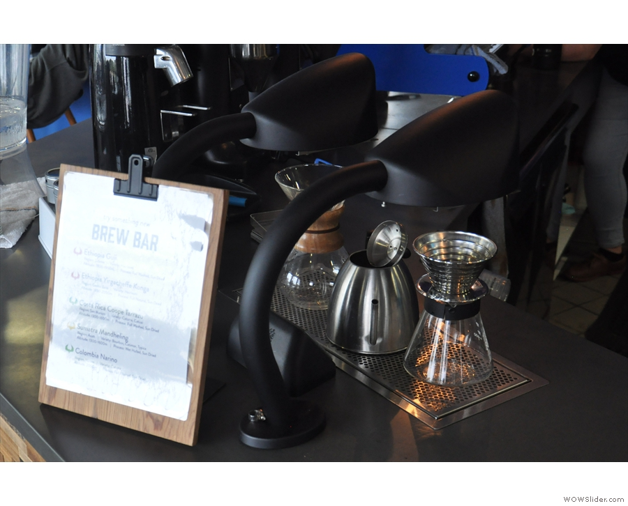Meanwhile, the coffee is off to the left, starting with the Seraphim pour-over machine...