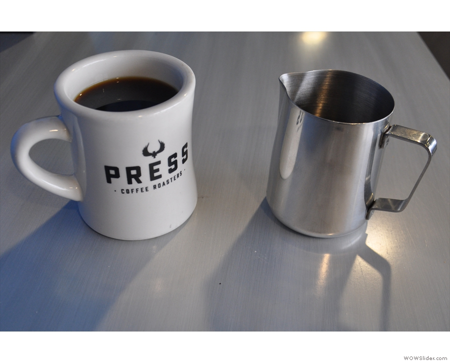 Then we serve, in this case in a large mug, with the remainder in a metal jug on the side.