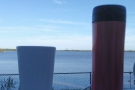 I take my coffee to all the best places: here, looking out at the Falcon Heavy rocket on the launch pad at Kennedy Space Center.