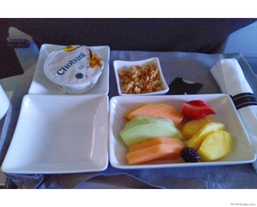 This is what passes for breakfast in first class. At least it's free.