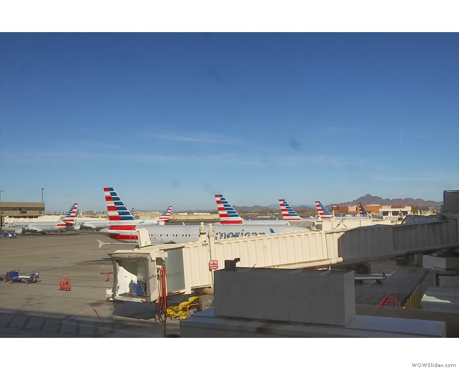 The only picture I got of my plane, at the gate in Phoenix. It's the third tail along!