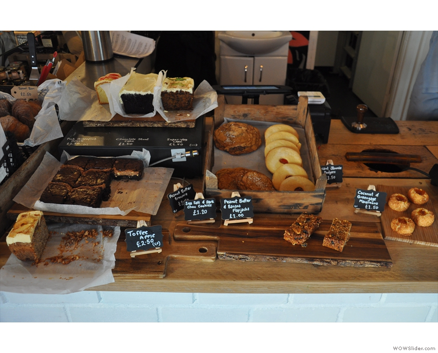 Moving along to the front of the counter, there's a tempting array of cakes...