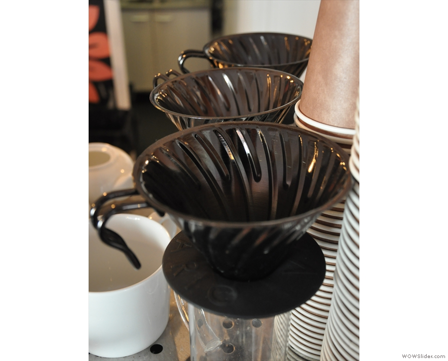 ... beyond which are the V60 pour-over filters for the guest single-origin.