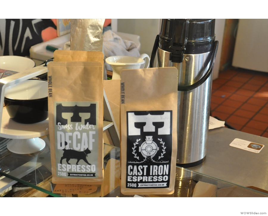 The espresso choices: the Cast Iron blend and decaf, both from local roasters, Extract.