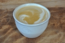 I, however, was starting my day with a flat white, served in this lovely, handleless cup.