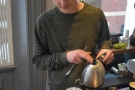 Callum starts off with a short first pour to allow the coffee to bloom.