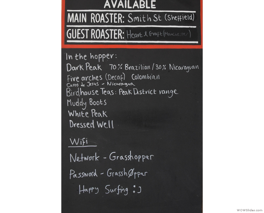 ... with details of the house-blend, guest roaster and tea selection below.