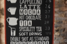 There's a fairly standard espresso-based coffee menu...