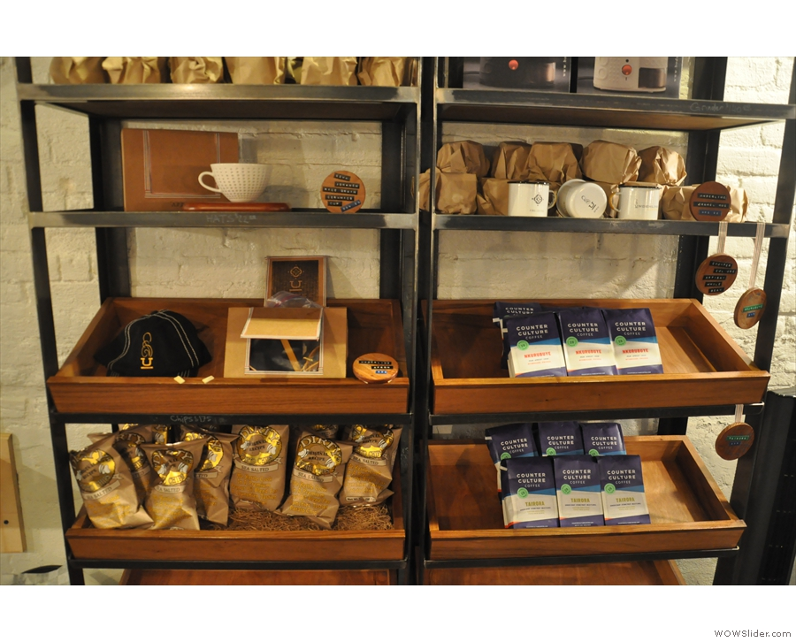 A major difference though is that the retail shelves displayed coffee from Counter Culture.