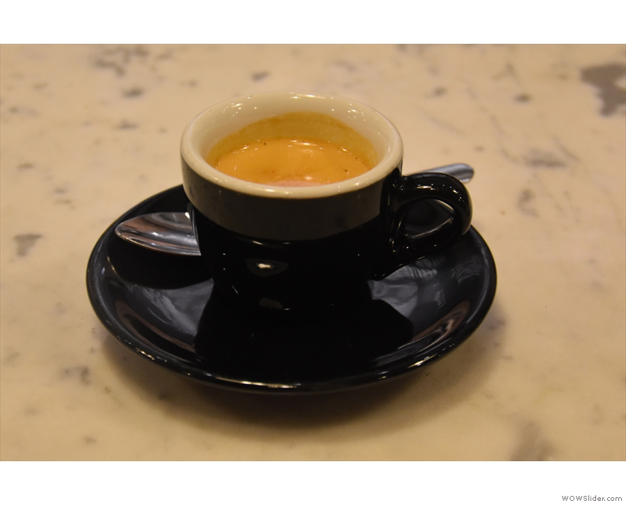 And here it is, a shot of the Guatemalan single-origin espresso in a classic black cup.