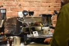 Dillon, the barista, and Parlor's founder, attaches the portafilter and positions the cup.