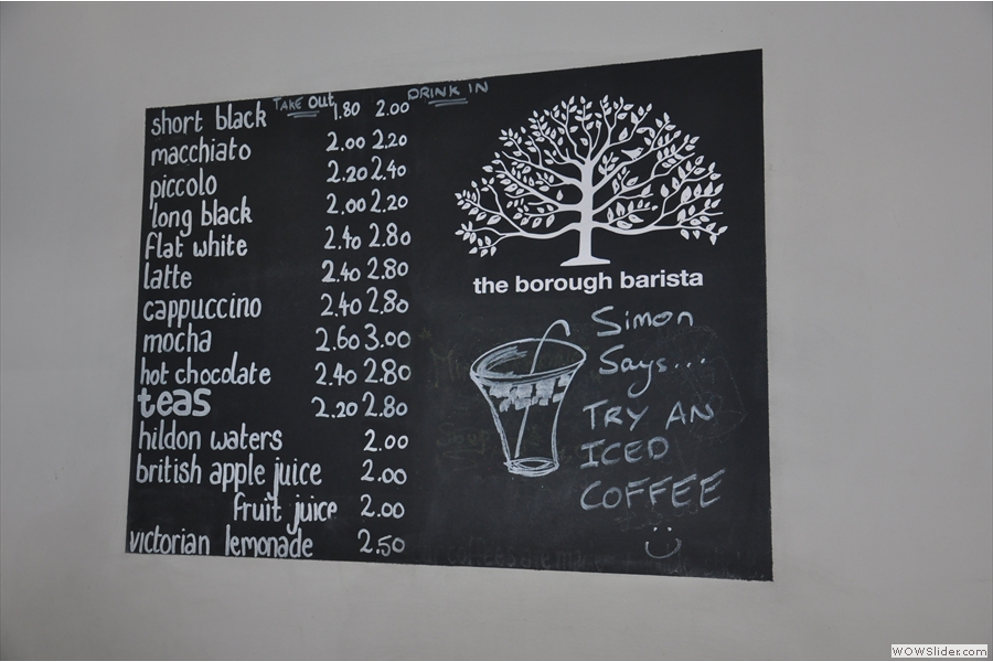 The coffee menu. Simon says 'try an iced coffee'; Brian says 'no thank you!'