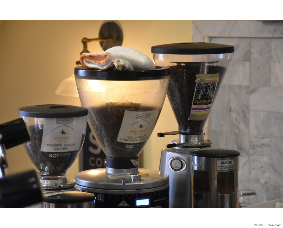The current choices: Gallivant, Voyager (decaf) and single-origin, from my visit in 2018.