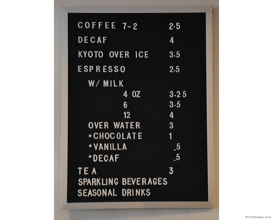 The drinks menu from 2016...