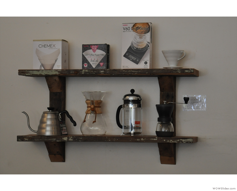 What a neat shelf of coffee-making kit (all for sale).