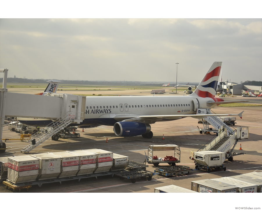 My plane, an Airbus A320, waiting on the tarmac to take me down to Heathrow.
