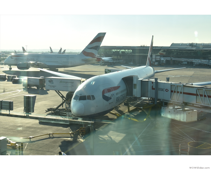 My ride to Boston, a British Airways Boeing 777 on the stand at Heathrow T5.