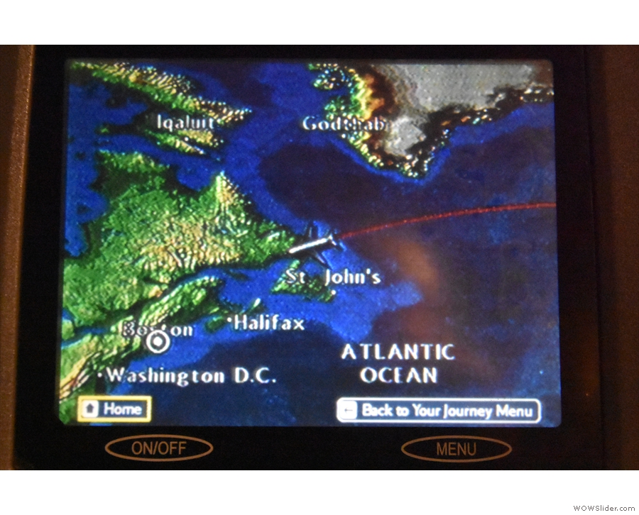 Just as we hit land, at the eastern most tip of Canada...