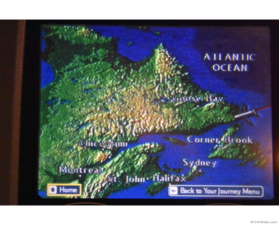 We begin to fly along the southern coast of Newfoundland...