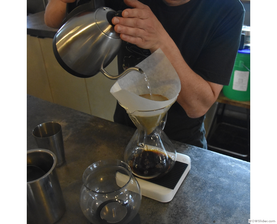 This is Charles making my Chemex, using a naturally-processed Bolivian single-origin.