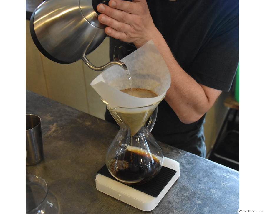 Interestingly, he employs a single, continuous pour into the centre of the Chemex.