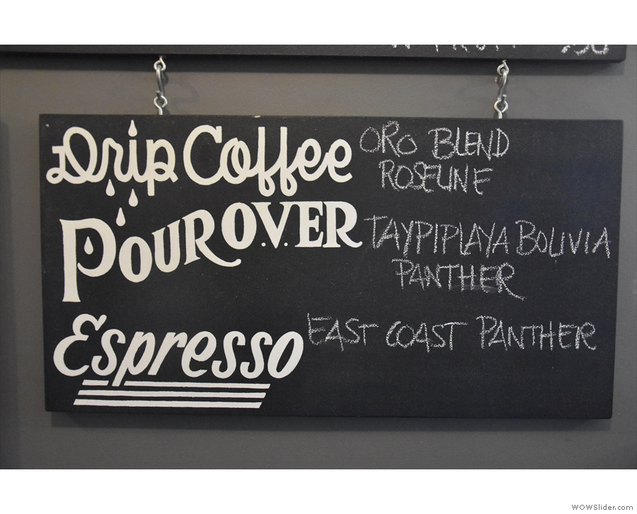 The coffee choices during my visit. There was also a Peruvian single-origin from Camber.