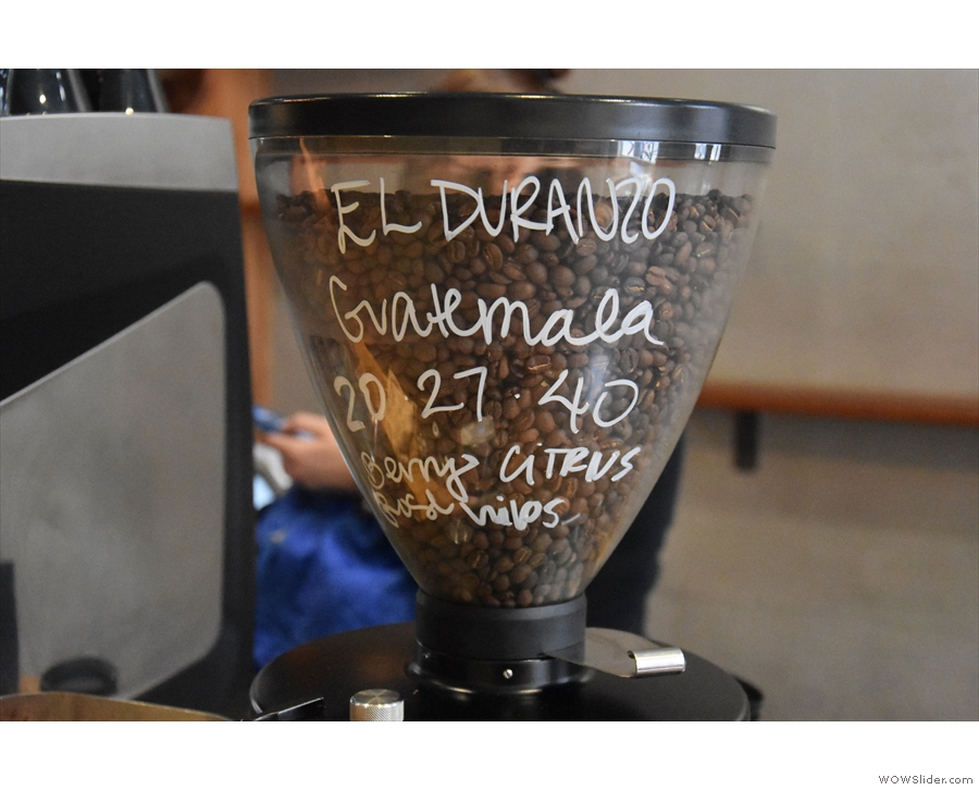 ... replaced by a Guatemalan from Bean Fruit. The barista writes the recipe on the hopper.