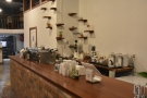 The coffee part of the operation is at the far end of the counter.