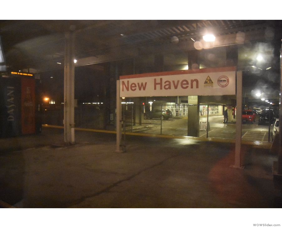 It was dark, so I didn't see much. This is New Haven, one of many stops on the way.