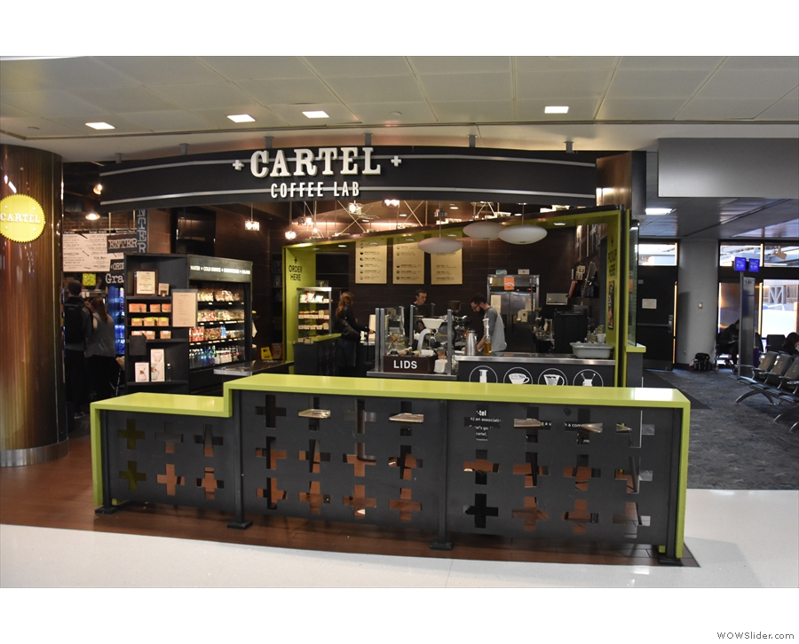 A welcome sight for a traveller/speciality coffee fan: Cartel Coffee Lab at Phoenix airport.