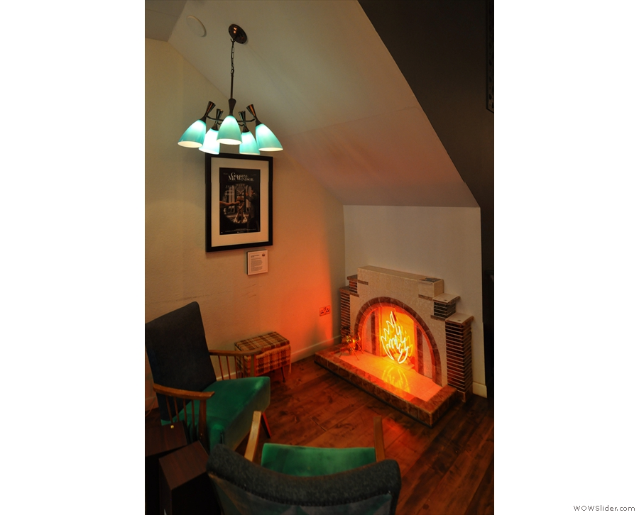 At the back is where you'll find another 200 Degrees staple, the neon fireplace.